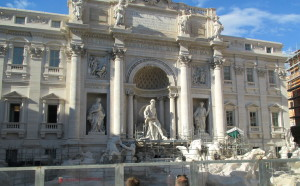 Trevi Fountain currently under construction