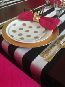Inspired setting black white polka dots and pink bow